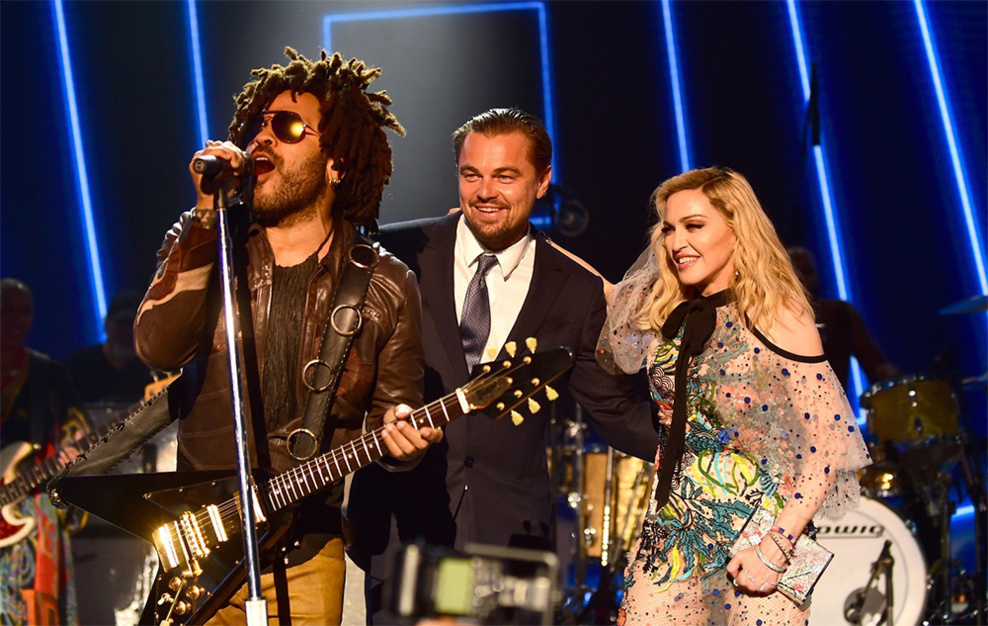 Madonna et Lenny Kravitz au gala de Leonardo Di Caprio à St-Tropez en 2017