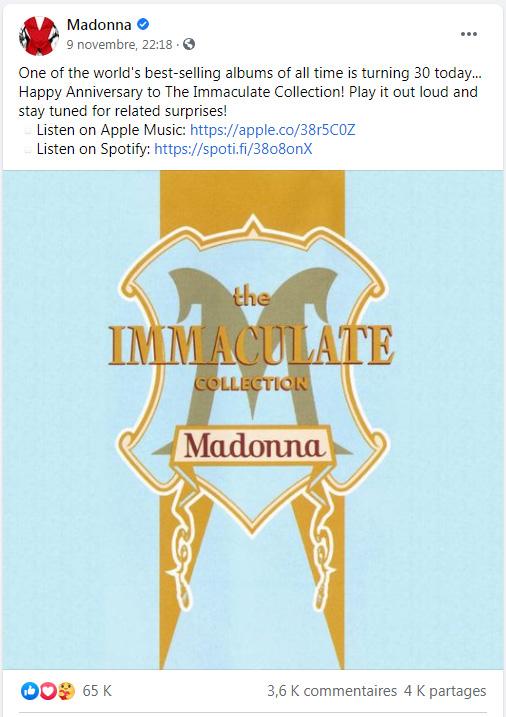 Une vraie célébration pour Immaculate Collection ?