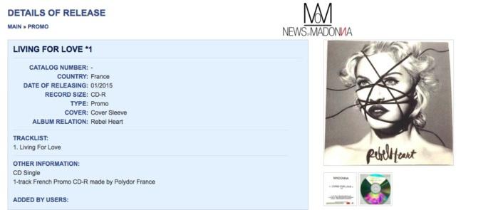 Madonna : le CD promo de livingforlove