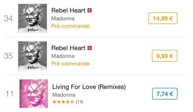 Rebel Heart et Living For Love : les classements Itunes France