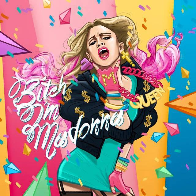 """Cool Fan Art!! ‪#‎bitchimmadonna‬ video coming soooooooon !! 💘💘💘 with many surprise guests! Stay tuned......... ❤ ‪#‎rebelhearts‬"" -Madonna"