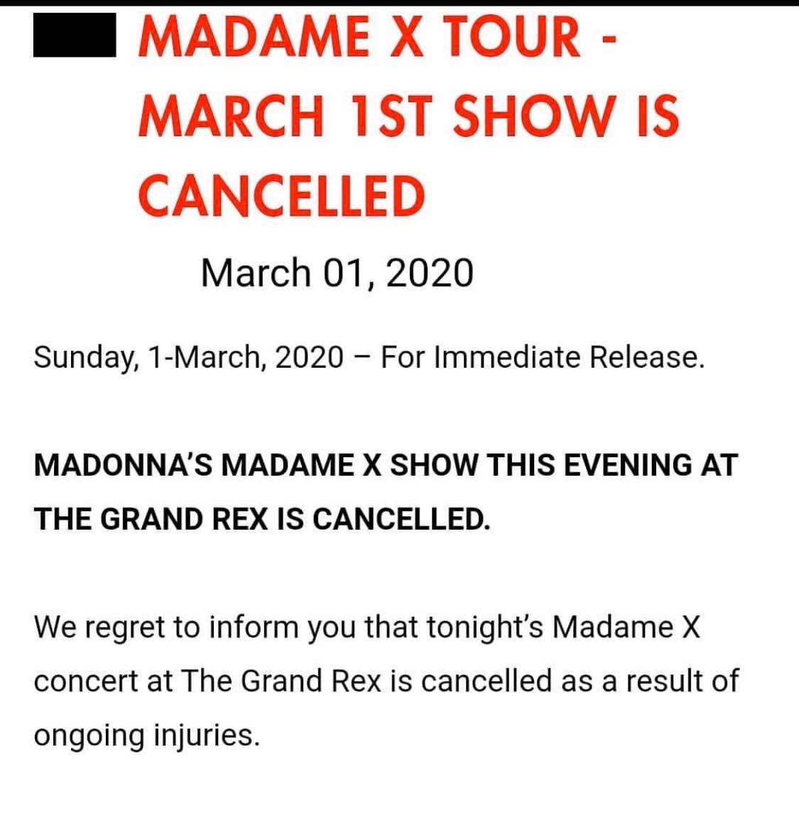 Le show de ce soir est annulé