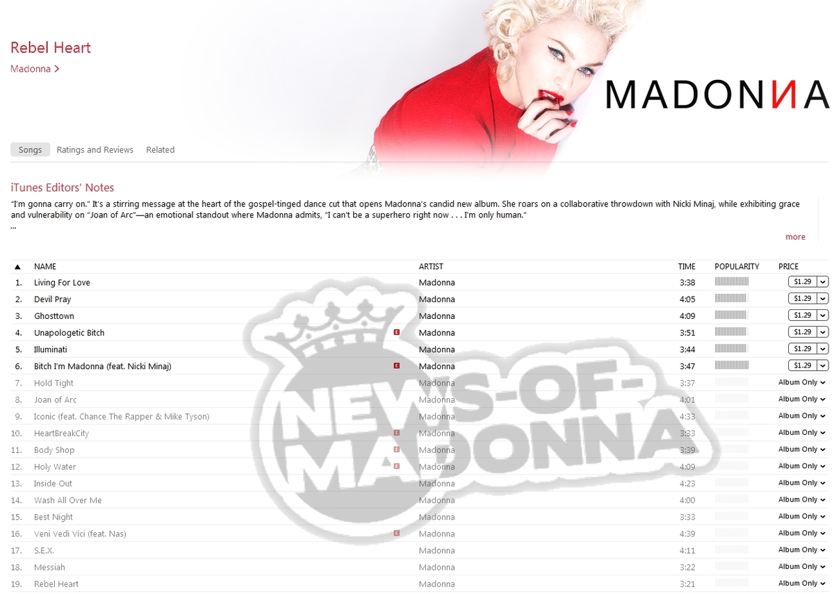 Madonna track list for Rebel Heart