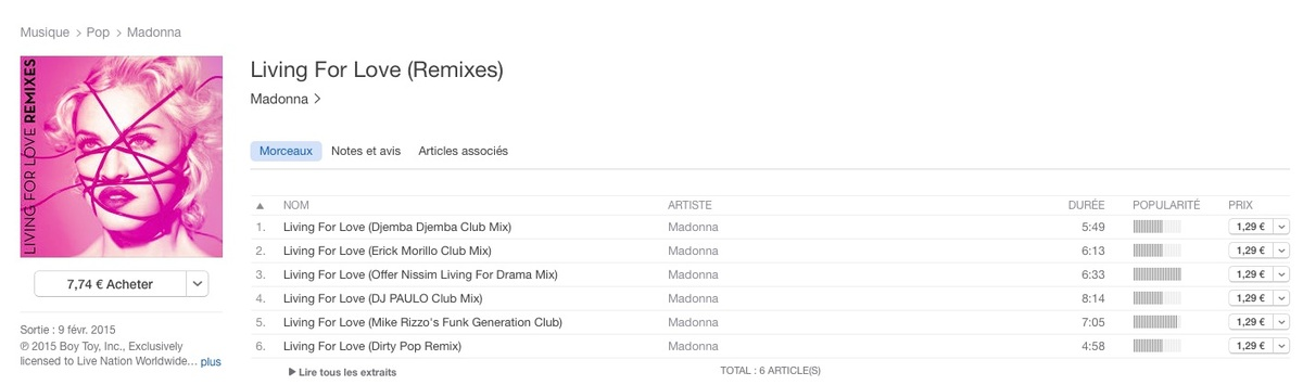 Living For Love remixes dispo sur itunes