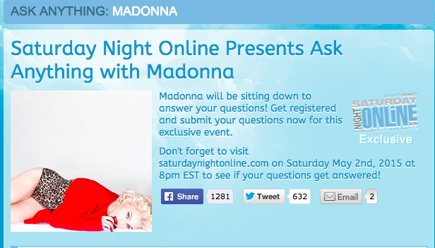 Ask Anything to Madonna le 2 Mai prochain