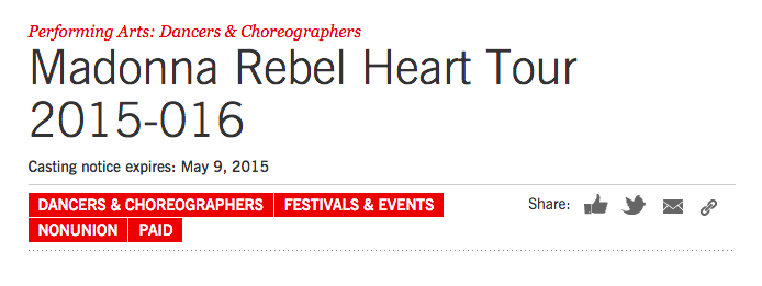 Rebel Heart Tour : Auditions in NYC