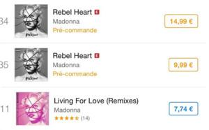 Rebel Heart et Living For Love : les classements Itunes France